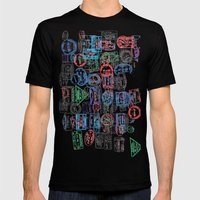 Passport Stamps Mens Fitted Tee Black SMALL