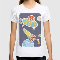 space flying Womens Fitted Tee Ash Grey SMALL
