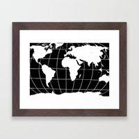 Map of the World in Black Framed Art Print