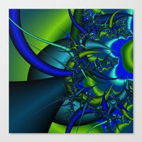 Blue  n green abstract fractal Canvas Print