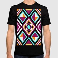 Quilt Pattern Black Mens Fitted Tee SMALL