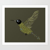 Abstract Hummingbird Art Print
