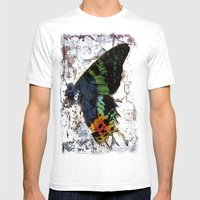 Sunset Moth Wing Abstract Mens Fitted Tee White SMALL