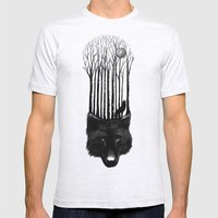 Wolf Barcode Mens Fitted Tee Ash Grey SMALL