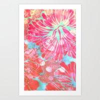 Blue Water Hibiscus Snowfall Art Print