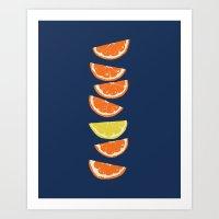 Citrus Tip - indigo & tangerine Art Print