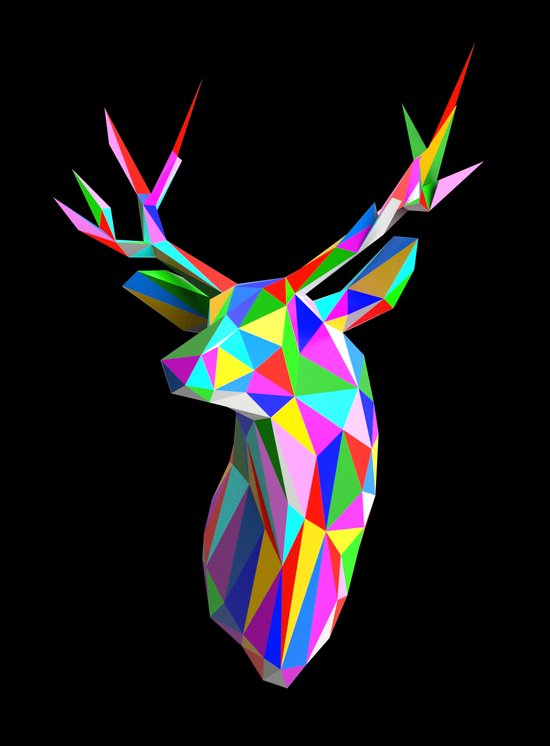 3D Stag Black Background Art Print
