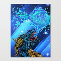blue dragon fire artist Canvas Print