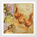 Three Red Hens Art Print
