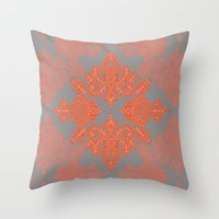 Throw Pillows featuring Burnt Orange, Coral & Grey doodle pattern by micklyn