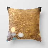 Blue Bokeh  Throw Pillow