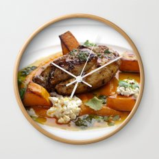 Baby chicken with pumpkin,cottage cheese and coriander pesto Wall Clock