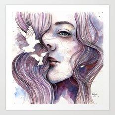Dreams of freedom, watercolor artwork Art Print
