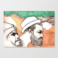 Two Men And The Mountain… Canvas Print