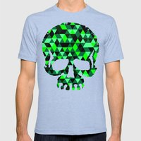 Triangle Camouflage Skull (WITHE) Mens Fitted Tee Tri-Blue SMALL