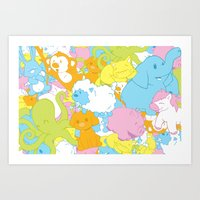 Animal March! Art Print