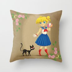 Retro Sailor Moon Throw Pillow