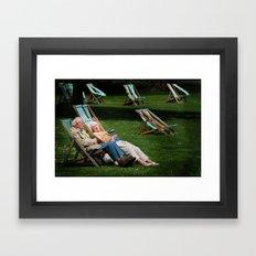 Elderly Couple in Victoria Tower Gardens  Framed Art Print