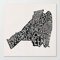 Monmouth County, New Jersey Map Canvas Print