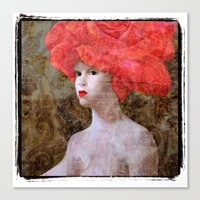 Goddess With A Rose Hat.… Canvas Print