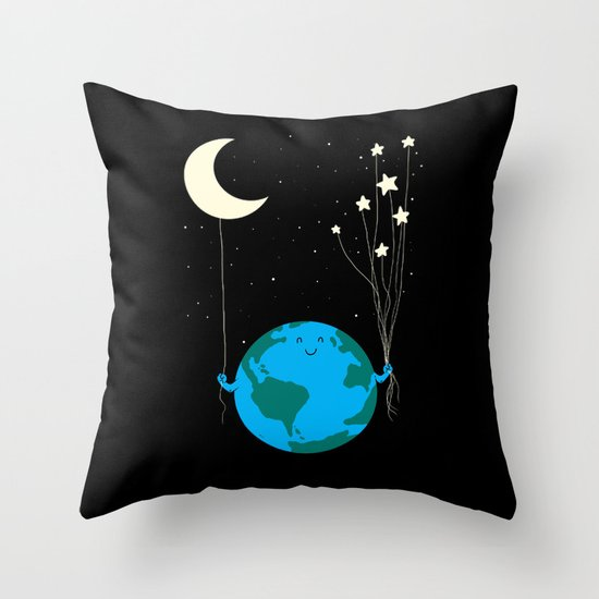 Under the moon and stars Throw Pillow