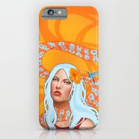 iPhone & iPod Case featuring Hummingbird Girl with Orange Swirls by SL Scheibe