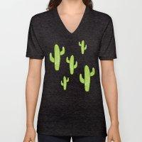 Linocut Cacti Minty Pinky Unisex V-Neck