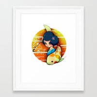 Framed Art Print featuring Koi by Mickey Spectrum