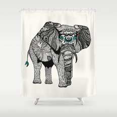 Tribal Elephant Black and White Version Shower Curtain
