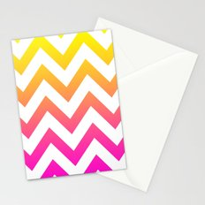 PINK & YELLOW CHEVRON FADE Stationery Cards