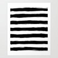 Black Paint Strokes Stripes Art Print