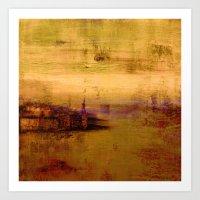 golden abstract landscape Art Print