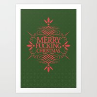 Merry Effin Christmas Art Print