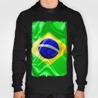Brazil Flag Waving Silk Fabric Hoody