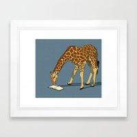 Reading Giraffe Framed Art Print
