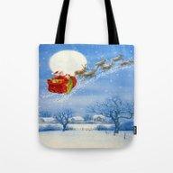 Santa And His Flying Rei… Tote Bag
