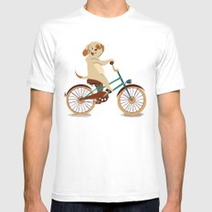 Puppy on the bike Mens Fitted Tee White SMALL