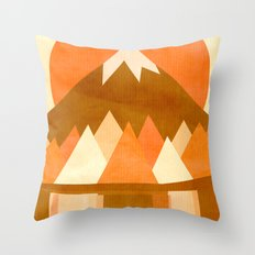 sunset reflections across the lake Throw Pillow