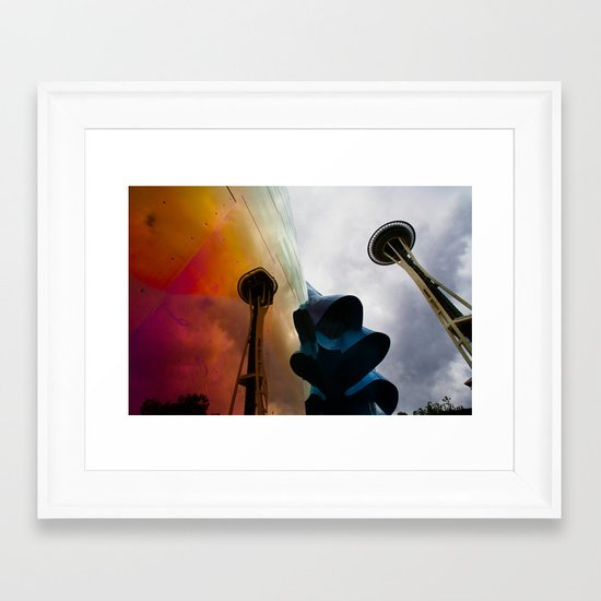 Space Needle Reflection Framed Art Print