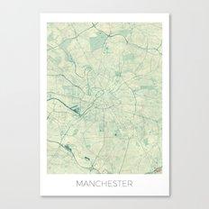 Manchester Map Blue Vintage Canvas Print