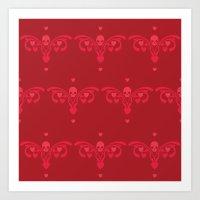 Skulls and hearts Art Print