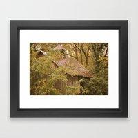 Shed in Woods Framed Art Print