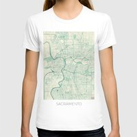 T-shirts featuring Sacramento Map Blue Vintage by City Art Posters