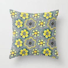 Yellow Circle Flowers Throw Pillow