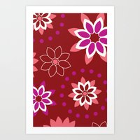 Floral Red Pattern Art Print