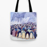 Huddling Penguins Tote Bag