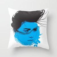Black, blue & white I Throw Pillow