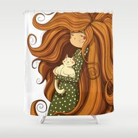 Girl and white cat Shower Curtain