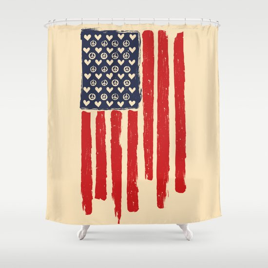 Red and Blue and White Shower Curtain