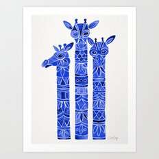 Navy Giraffes Art Print